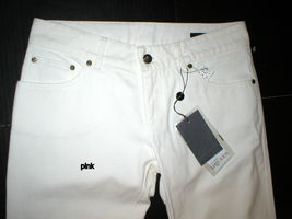 New NWT 4 6 Alexander McQueen Womens Jeans Designer Italy 42 White Tall 30 x 37 image 4