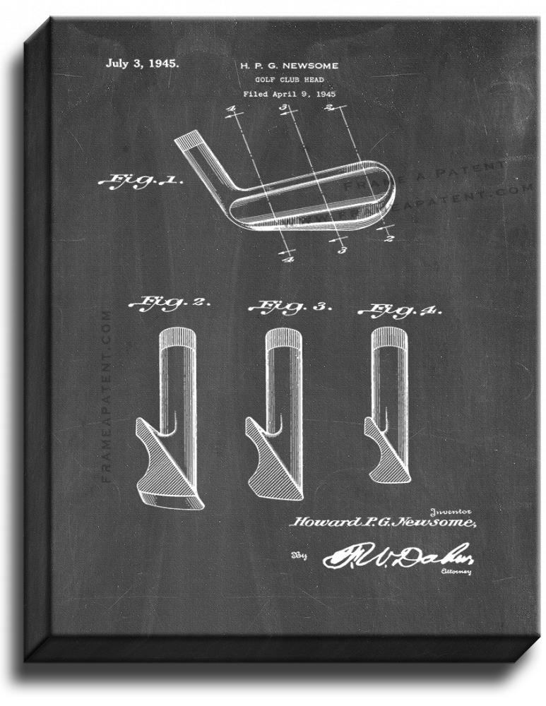 Primary image for Golf Club Head Patent Print Chalkboard on Canvas