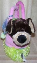 Webkinz Brown & Tan PUPPY Pink And Green Purse Plush Pet Carrier New - $8.88