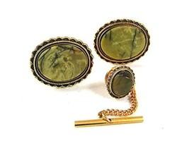 Vintage Goldtone & Green Cufflinks & Tie Tac By DANTE 61217 - $29.69