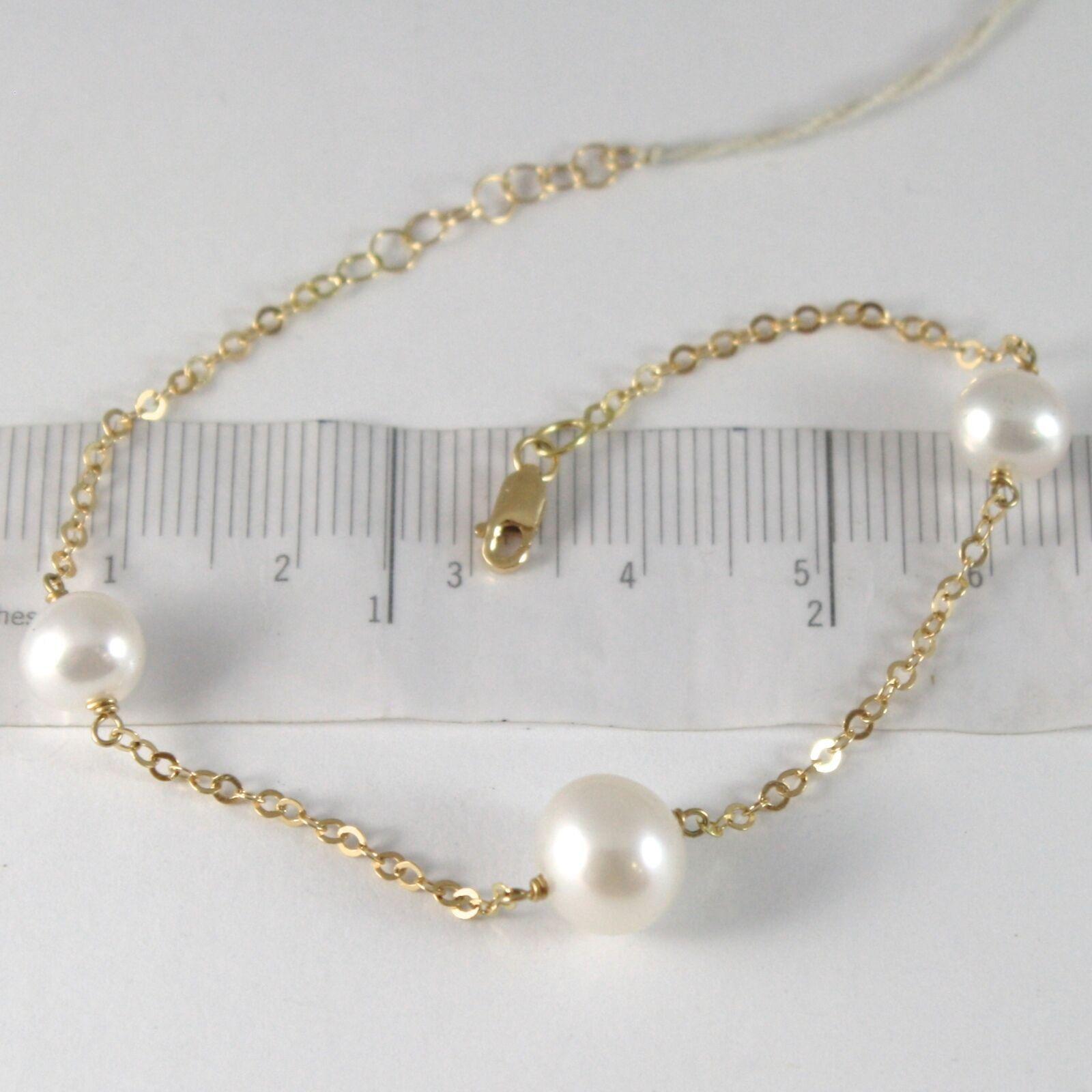 Armband Gelbgold 750 18K, Perlen Weiß 7-9 mm, Kette Rolo, 18.5 CM