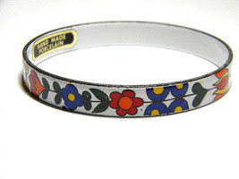 Orange Red Yellow and White Hand Made Porcelain Floral Flowers Bangle Vi... - $17.99