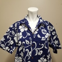 RJC Hawaiian Aloha Camp Shirt Men's Size L Made In Hawaii Navy Floral Hi... - $29.03
