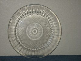 "Vintage USA 33 Clear Crystal Glass 10"" Dish Diamond Pattern - $8.56"