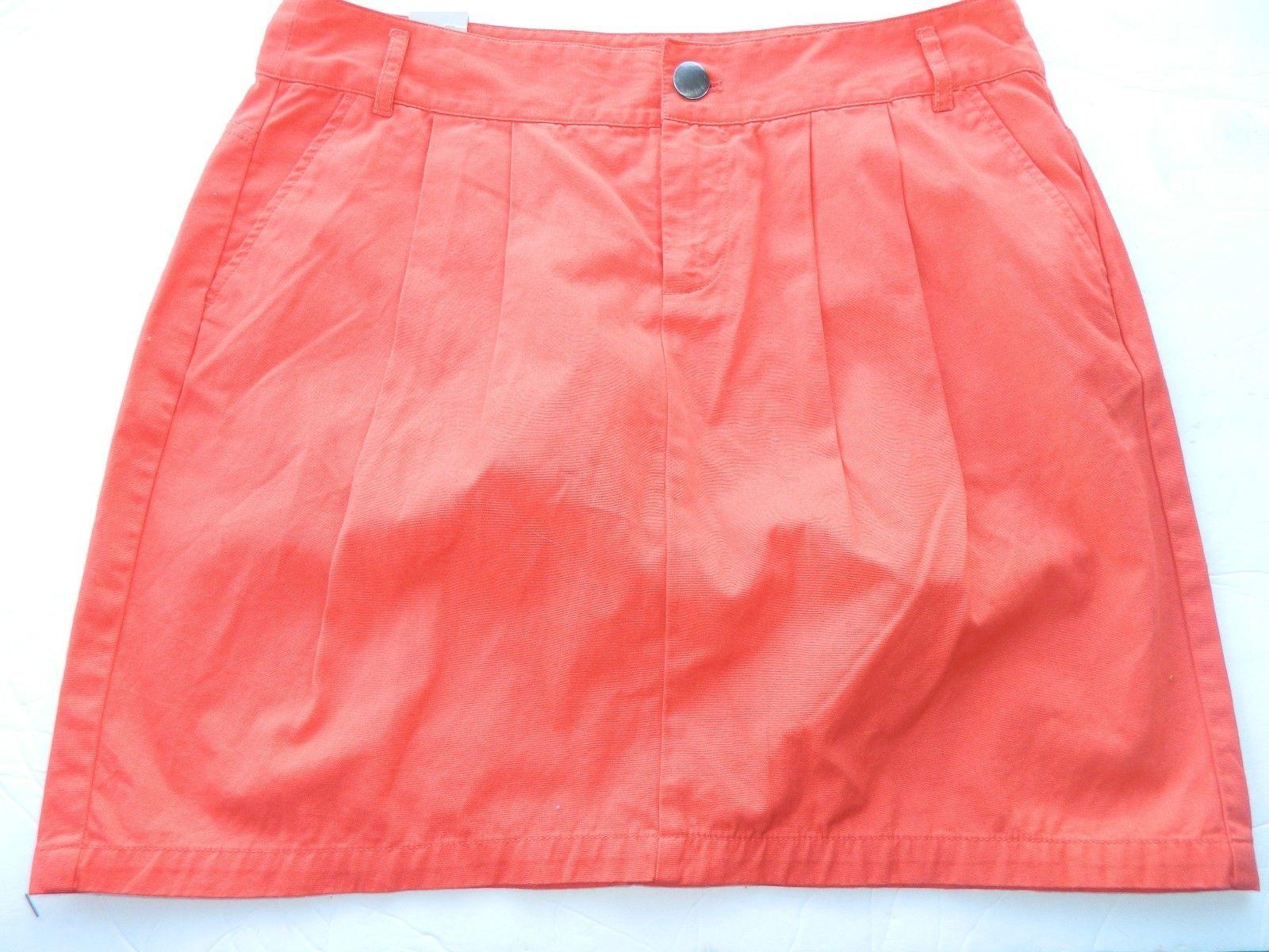 NWT Gap Skirt Twill Mini Bright Red Killer Tomato Orange Skirt Size 8