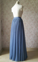 DUSTY BLUE Tulle Maxi Skirt Floor Length Women Tulle Skirt Dusty Blue Bridesmaid image 7