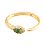Golden Snake, Exquisite 925 Sterling Silver Gold Plated Snake Bracelet w... - $159.95