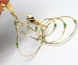 Drop Earrings Yellow Gold 750 18K, Triple Circle, Tourmaline Green, Balls image 4