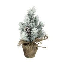 "9"" Flocked Mini Pine Christmas Tree with Berries in Beige Burlap Pot - tkcc - $23.95"
