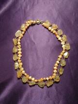 Vintage Citrine Quartz & Yellow Mother of Pearl Necklace - $64.35