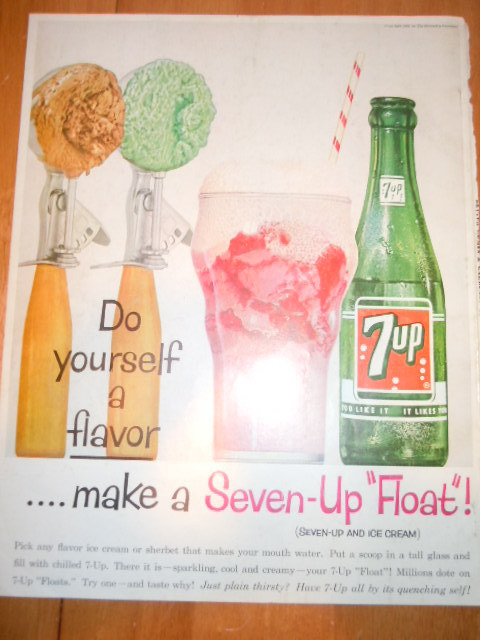 Primary image for Vintage 7-Up Float Print Magazine Advertisement 1961