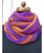Loop scarf, Circle infinity boho scarf, Hand crochet neckwarmer, orange ... - £22.37 GBP