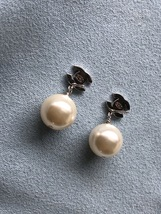 Authentic Chanel Classic Crystal CC Pearl Silver Earrings  image 9