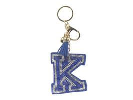 Blue Initial K Tassel Bling Faux Suede Stuffed Pillow Key Chain Handbag ... - $12.95