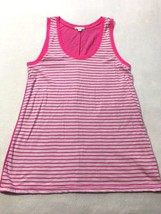 Gap Womens S Small Pink White Stripe Tank Top Solid Back Cotton Modal - $7.19