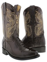 Mens El Presidente Brown Real Ostrich Leg Skin Leather Cowboy Boots Roper - £122.80 GBP