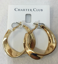 "Hoop Earrings Charter Club Sculptured Twist Abstract Dangling Drop 2"" Gold Tone - $9.89"