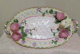 Avon China Platter Tray w/ Handles Floral 3-D Duck Morning Glories 13.75... - $17.82