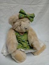 "Vermont Teddy Bear plush w/Floral Green Dress Eye Glasses 15"" - $9.49"