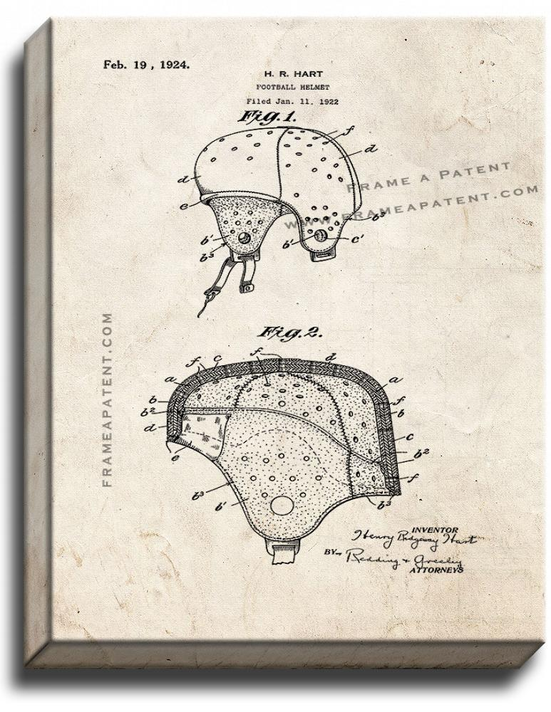 Primary image for Football Helmet Patent Print Old Look on Canvas