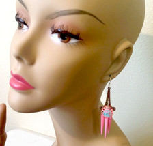 blue & pink rose chandelier earrings pink earrings dangle drop earrings ... - $4.99