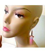 blue & pink rose chandelier earrings pink earrings dangle drop earrings ... - $4.99