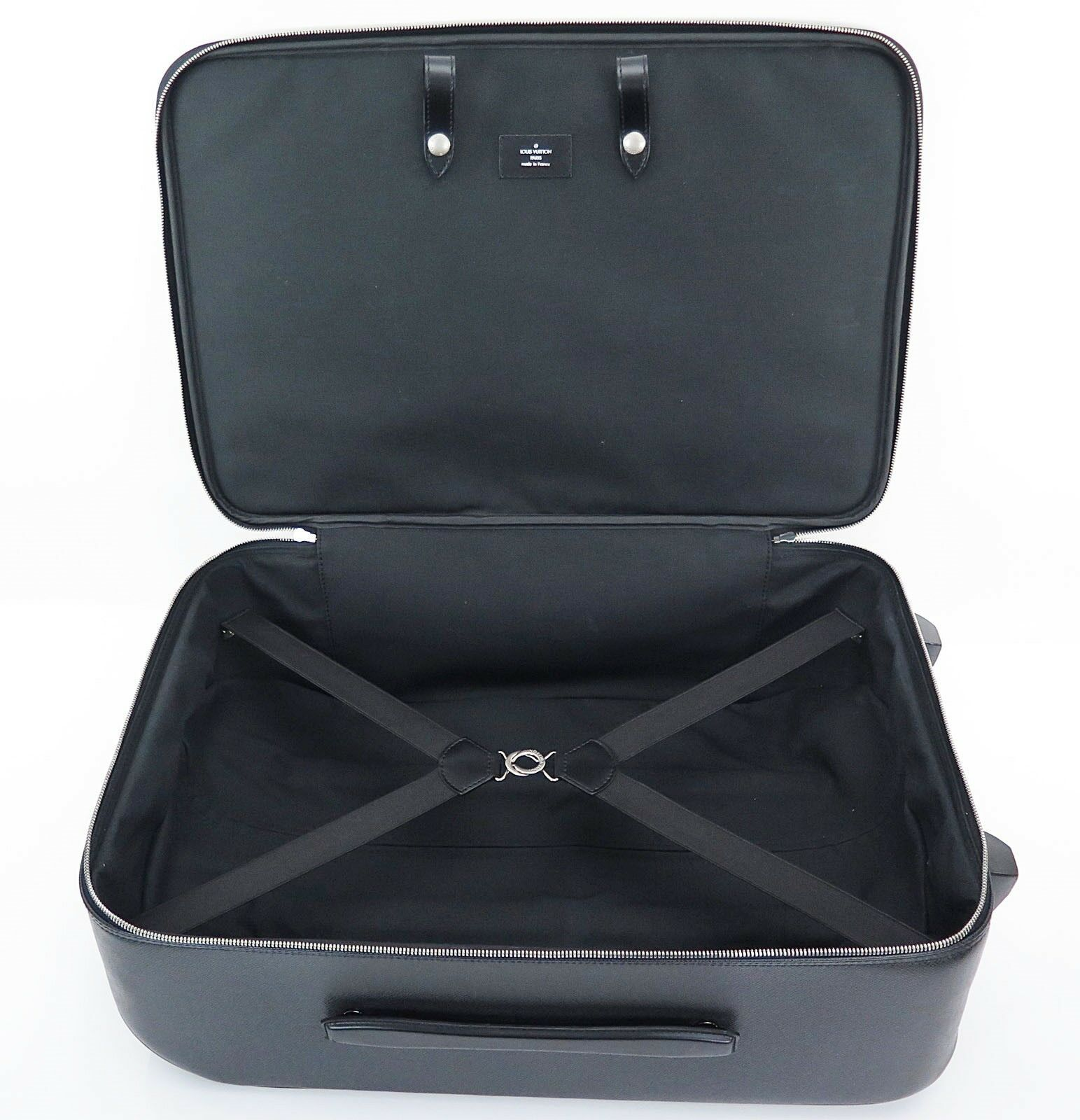 Auth LOUIS VUITTON Pegase 55 Black Taiga Leather Travel Rolling Suitcase #30258