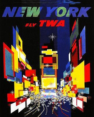 Primary image for 1957 New York - Fly TWA - Travel Advertising Poster