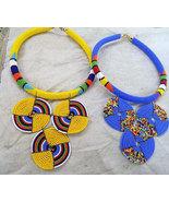 African Tribal Beaded Choker / Elegant Artistic... - $29.99