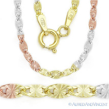 Sterling Silver 3-Tone 14k Gold Plated 2.5mm Valentino Link Italy Chain ... - $32.96+