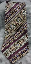 BILL BLASS MEN'S NECKTIE 100% SILK WPURPLE BLUE AND IVORY DESIGN - $7.99