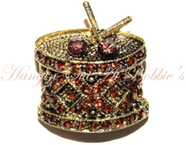 Drum Pin Brooch Crystal Topaz Brown Music Musical Theme Gold Tone Metal - $24.99