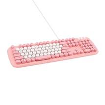 Actto KBD58 Korean English Membrane Keyboard USB Wired Typewriter Design (Pink)