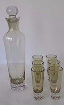 Vintage Liquor Decanter and 6 Glasses Olive Color - $69.29