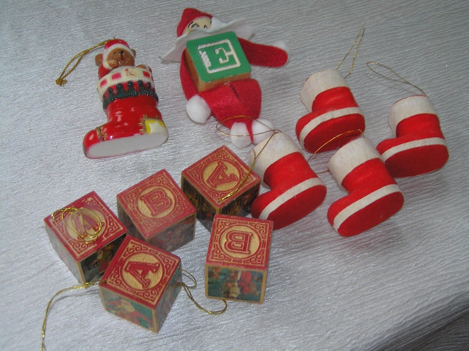 Lot of 11 Faux Wood Building Blocks Folk Art Elf Flocked Christmas Stocking  image 2