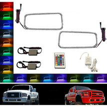05-07 Ford F-250 Multi-Color Changing LED RGB Halo Upper Headlight Rings Pair IR - $99.95