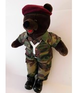 US Army Parachuter Military Plush Bear 11 inch Vintage Bear Forces Of Am... - $19.75