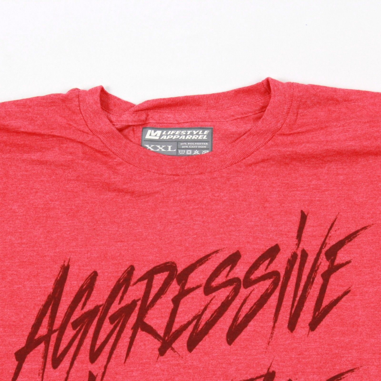 NEW Aggressive XXL T Shirt Adult 2XL Shortsleeve Tee Tapered Fit Red Heather