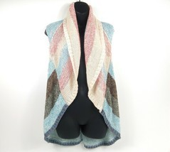 CAbi Women's Sweater Shrug Striped Coral/Blue Vest Shawl Boho Open Cardi... - £21.23 GBP