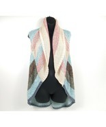 CAbi Women's Sweater Shrug Striped Coral/Blue Vest Shawl Boho Open Cardi... - $29.52