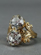 Ring, rhinestones, 1970s hallmark Jewelry alloy, gilding. Size 7 - $17.82