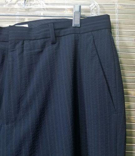 Calvin Klein 36543 Mens Stripe Dress Pants 33x32 Wool/polyester/Lycra spandex