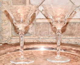2 TOASTING VINTAGE CRYSTAL ETCHED FLOWERS WINE CHAMPAGNE SHERBET OPTIC G... - $29.99