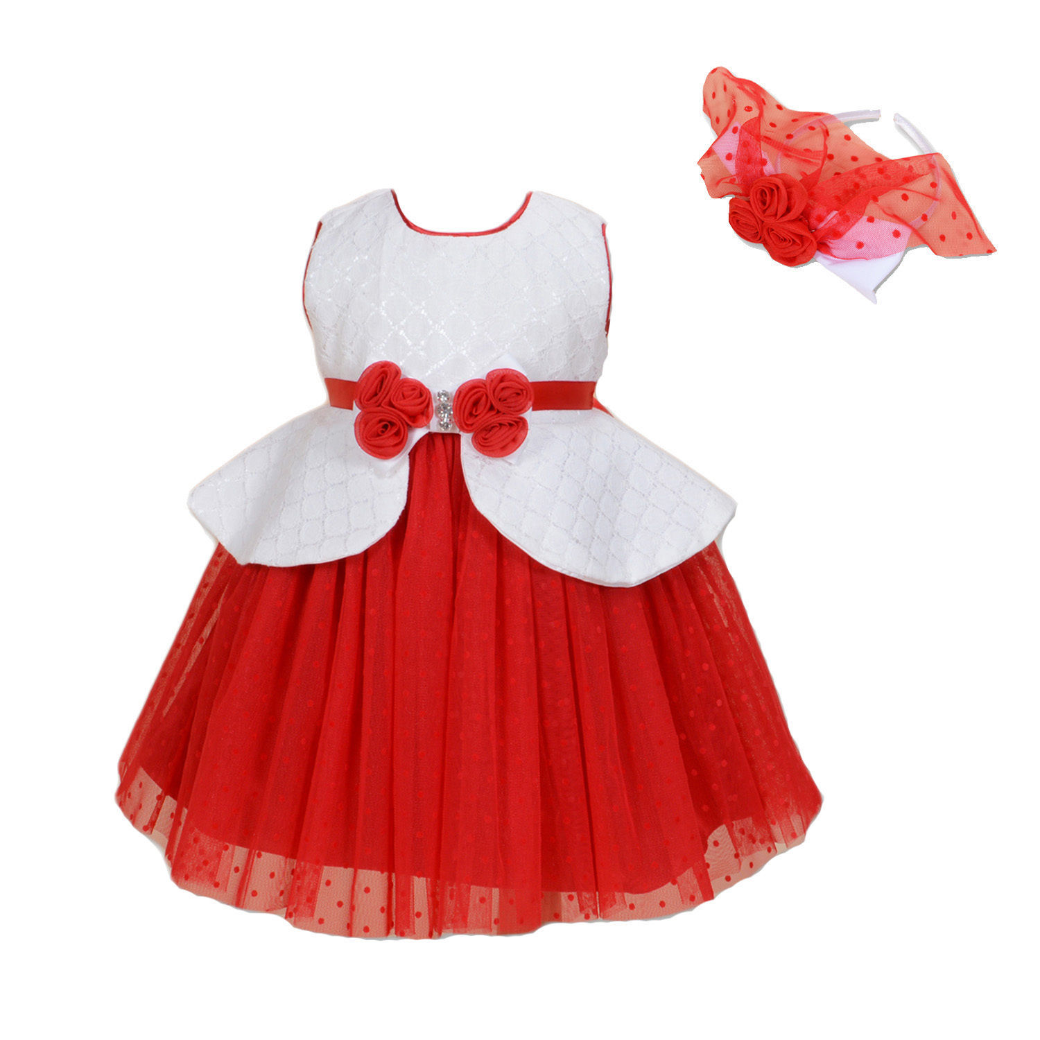 Primary image for New Flower Girl Party Bridesmaid Dress+Headband in Blue Red 12 Months to 9 Years