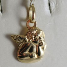 18K YELLOW GOLD PENDANT, MINI GUARDIAN ANGEL, ENGRAVING, MADE IN ITALY image 1