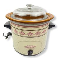 Vintage Rival Crock Pot Pink Rose Slow Cooker Model 3150/2 3.5qt Removab... - $49.49