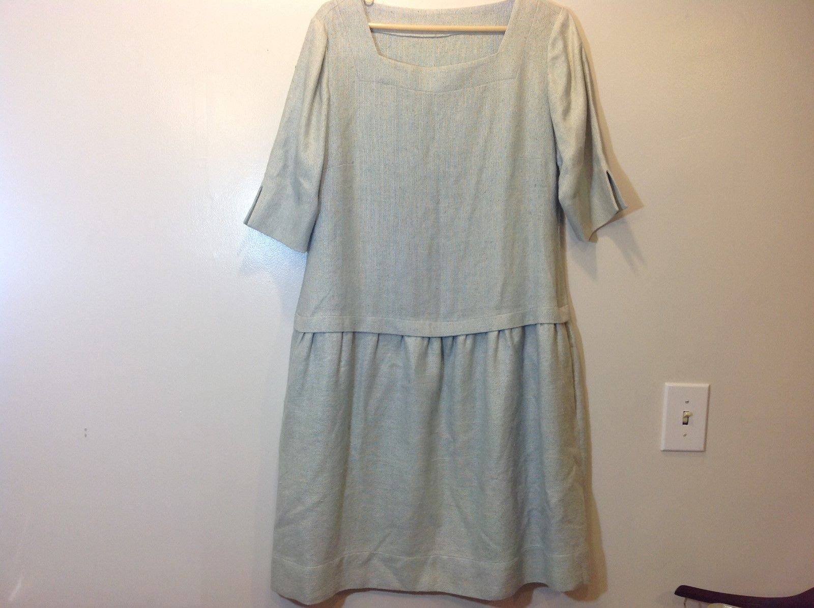 Vintage Pale Mint Green Simple Dress