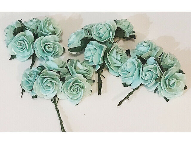 Mulberry Paper Flowers Pastel Green Roses, 25mm, 20 Count