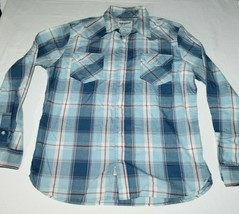 Levis Strauss Two Horse Brand Mens XL Plaid Western Pearl Snap Shirt Blu... - $28.59