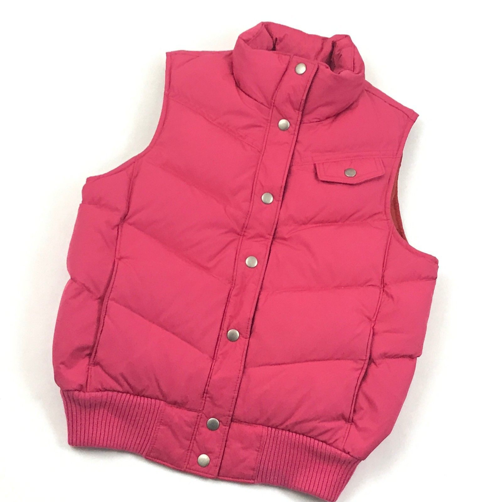 GAP Womens Puffer Vest DOWN Gilet Insulated Sleeveless Mock Snap Button Quilted